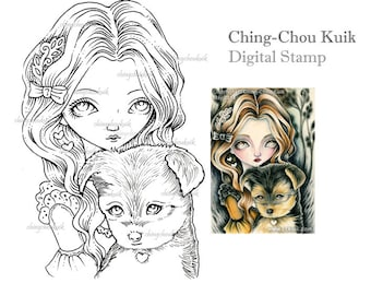 Yorkshire Terrier - Digital Stamp Instant Download / Dog Puppy Fairy Girl Fantasy Art by Ching-Chou Kuik