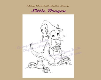 Half Price-Little Dragon- Coloring Page PRINTABLE Instant Download Digital Stamp/Fantasy Witch Halloween Pumpkin Art by Ching-Chou Kuik