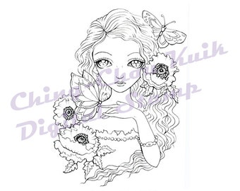 Poppy Glamour - Instant Download Digital Digi Stamp / Poppies Flower Moth Butterfly Fantasy Fairy Girl Art by Ching-Chou Kuik