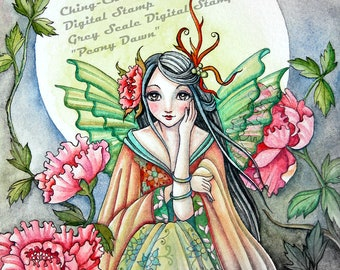 Peony Dawn -Grayscale Digital Stamp  - PRINTABLE Instant Download / Oriental Fairy Faery Girl Fantasy Art by Ching-Chou Kuik