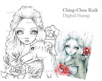 Greyhound - Digital Stamp Instant Download / Fantasy Art by Ching-Chou Kuik