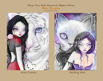 Wild Passion Set- Greyscale PRINTABLE Instant Download Digital Stamp / Animal Cat Tiger Rose Fairy Girl Art by Ching-Chou Kuik