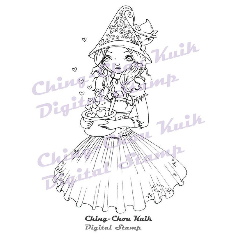 Love Magic  Digital Stamp Instant Download /Witch Kitty image 0