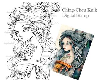Bones Imprint - Digital Stamp Instant Download / Fantasy Art by Ching-Chou Kuik