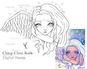 Hope (While There's Life, There's Hope) - Digital Stamp Instant Download / Angel Fairy Art by Ching-Chou Kuik