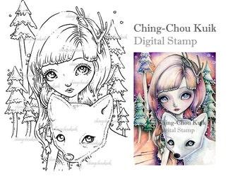 Winter Warmth - Digital Stamp Instant Download / Animal Fox Tree Christmas Fantasy Sweet Fairy Art by Ching-Chou Kuik