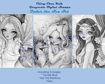 Under The Sea Set - Greyscale PRINTABLE Instant Download Digital Stamp /  Mermaid Fairy Girl Art by Ching-Chou Kuik