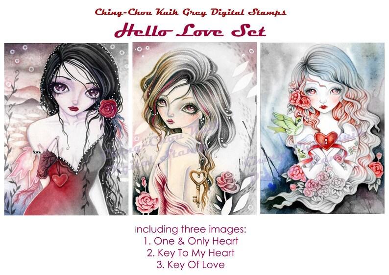 Hello Love Set  Greyscale PRINTABLE Instant Download Digital image 0