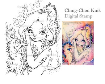 See the Rainbow - Digital Stamp Instant Download / Coral Seahorse Mermaid Fairy Girl Fantasy Art by Ching-Chou Kuik