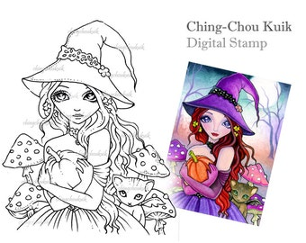 The Perfect Pumpkin - Digital Stamp Instant Download / Fantasy Art by Ching-Chou Kuik