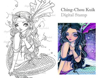 Magic Wish - Digital Stamp Instant Download / Ocean Mermaid Fairy Girl Fantasy Art by Ching-Chou Kuik
