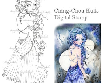 Sapphire - Digital Stamp Instant Download / Gem Rose Heart Key Lady Girl Fantasy Art by Ching-Chou Kuik