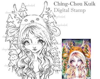 Aurora Woods - Digital Stamp Instant Download / Animal Reindeer Christmas Tree Fantasy Sweet Fairy Art by Ching-Chou Kuik