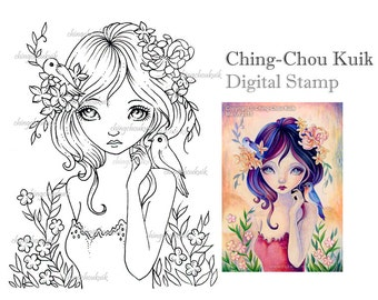 Heart of Spring - Digital Stamp Instant Download / Bird Flower Girl Fantasy Art by Ching-Chou Kuik