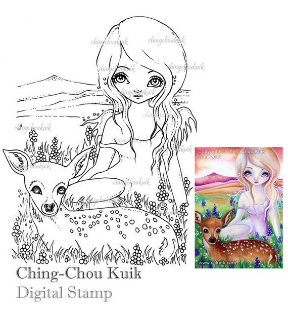 Hola ciervo Digital sello descarga inmediata / Animal | Etsy