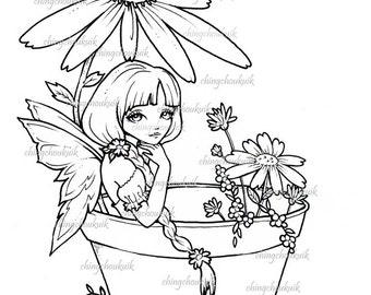 Garden Daisy Fairy- Digital Digi Stamp Instant Download / Cute Fantasy Art by Ching-Chou Kuik