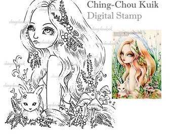 Sweet December - Digital Stamp Instant Download / Mushroom Toadstool Animal Rabbit Bunny Holly Pine Fantasy Fairy Art by Ching-Chou Kuik