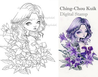 Lily's Lullaby - Digital Stamp Instant Download / Calla Lily Flower Fairy Faery Girl Fantasy Art by Ching-Chou Kuik