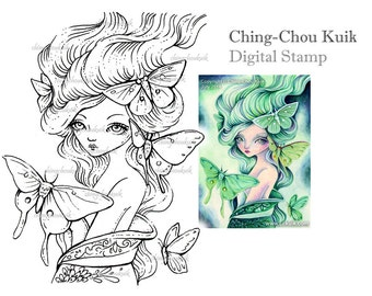Green Moth Maiden - Digital Stamp Instant Download / Butterfly Moth Kimono Japanese Girl Fantasy Art by Ching-Chou Kuik