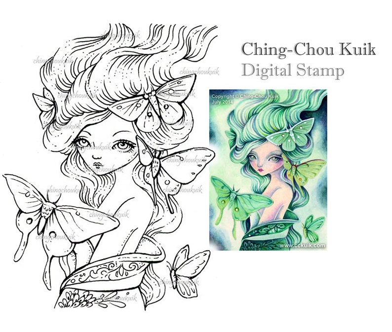 Green Moth Maiden  Digital Stamp Instant Download / Butterfly image 0