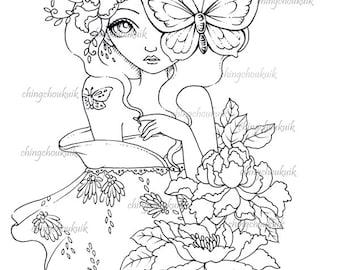 Ponderer - Digital Stamp Instant Download / Butterfly Moth Peony Flower Kimono Japanese Girl Fantasy Art by Ching-Chou Kuik