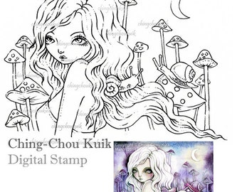 Moonlight Gathering - Digital Stamp Instant Download / Moon Animal snail Mushroom Toadstool Fantasy Fairy Girl Art by Ching-Chou Kuik