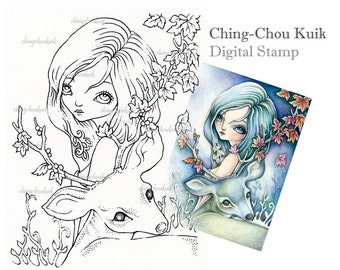 Gentleness - Digital Stamp Instant Download / Fantasy Art by Ching-Chou Kuik