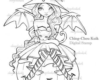 Big Pumpkin- Digital Digi Stamp Instant Download / Halloween Witch Fantasy Art by Ching-Chou Kuik