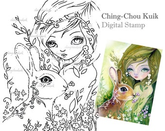 Hello Spring - Digital Stamp Instant Download / Fantasy Art by Ching-Chou Kuik
