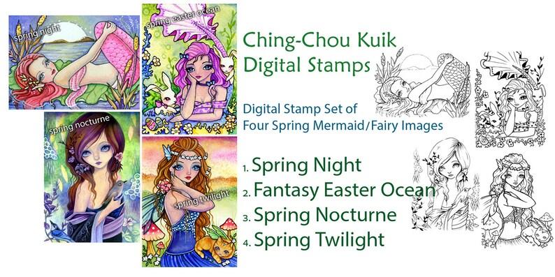 Digital Stamp Spring Mermaid & Fairy Set of 4 Images  Instant image 0