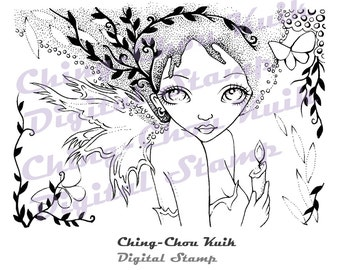 Shining On - Instant Download / Candle Hope Faith Butterfly Fantasy Fairy Faery Girl Art by Ching-Chou Kuik