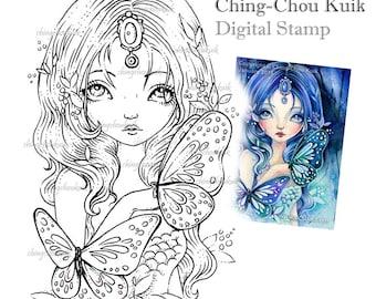 Blue Sea Illusion - Digital Stamp Instant Download / Gemstone Butterfly Mermaid Fairy Girl Fantasy Art by Ching-Chou Kuik