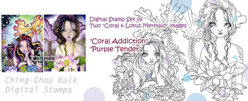 Digital Stamp Coral & Lotus Mermaid Set of 2 Images  Instant image 0