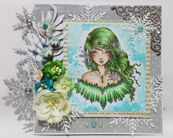 SnowFlake Imprint - Instant Download / Winter Snow Snowflake Frozen Lace Fantasy Fairy Girl Art by Ching-Chou Kuik