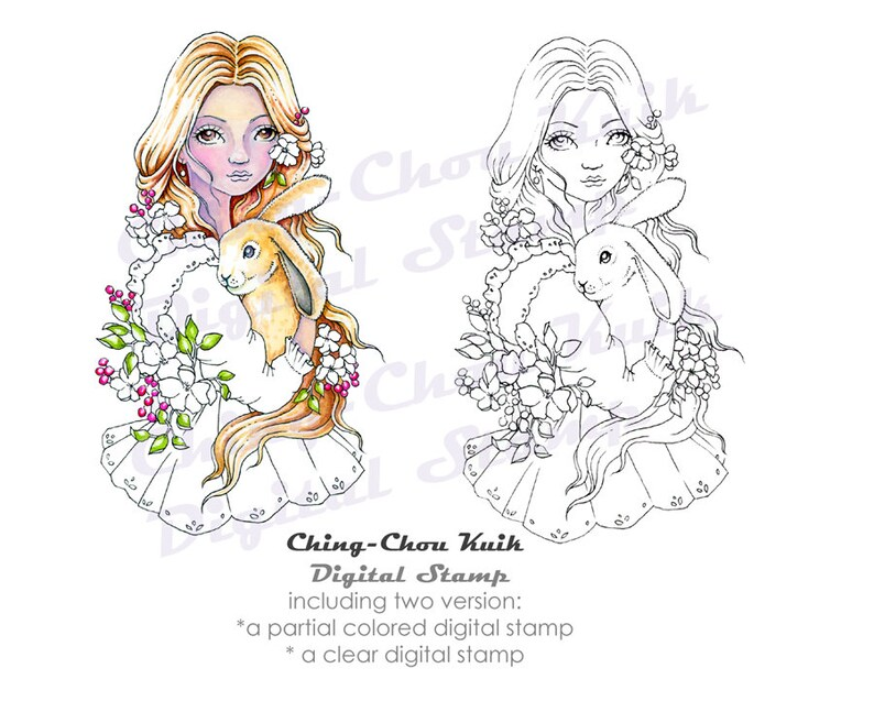 Sweet Bunny  Digital Stamp PRINTABLE Coloring Page Instant image 0