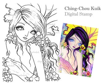 Pansy Mermaid - Digital Stamp Instant Download / Fantasy Art by Ching-Chou Kuik