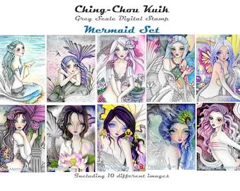 Zeemeermin Set - Greyscale afdrukbare Instant Download digitale stempel / Oceaan Zee Fairy meisje kunst door Ching-Chou Kuik