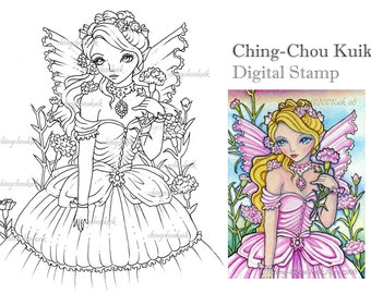 Carnation Fairy - Digital Stamp Instant Download / Flower Girl Lady Fantasy Art by Ching-Chou Kuik