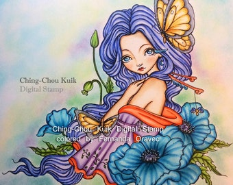 Peony Kimono Maiden - Digital Stamp Instant Download / Oriental Japanese Butterfly Flower Girl Lady Fantasy Art by Ching-Chou Kuik