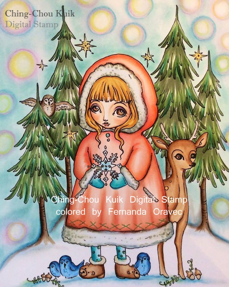 Winter Fellows  Digital Stamp Instant Download / Cute Animal image 0
