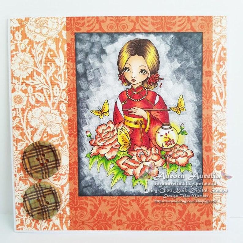 Lantern Night  Digital Stamp Instant Download / Oriental image 0