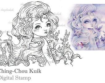 Embrace The Ocean - Digital Stamp Instant Download / Seashell Coral Pearl Mermaid Fairy Girl Fantasy Art by Ching-Chou Kuik