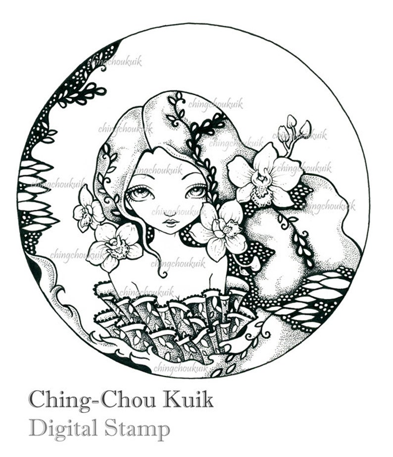 Orchid  Digital Stamp Instant Download / Oriental Japanese image 0