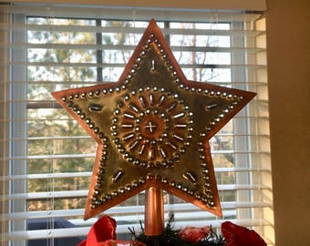 Star Tree Topper Large 12 Inch Rustic Copper Metal Country Primitive Wagon Wheel Sun Design Hand Cut By Larry West