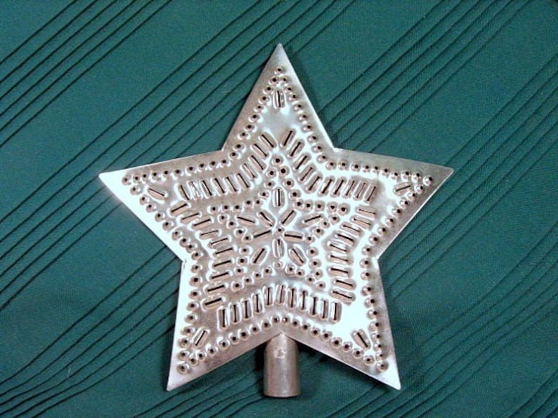 Tin Star Tree Topper Punched Tin 9 Inch Metal MADE in the USA image 1