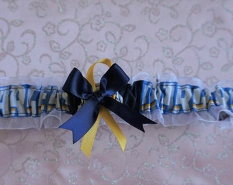 San Diego Chargers Navy lace Wedding Garter set any size color or style.