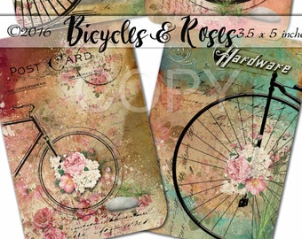 Printable Digital Collage Sheet Bicycles and Roses Romantic Downloads Hang Tags Scrapbooking Instant Download