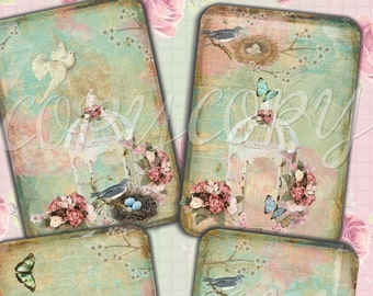 INSTANT DOWNLOAD  - Shabby Chic Birdcage - 3.5 x 5 inches - Printable  Digital Collage Sheet - Down Load Images - Tags