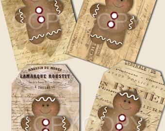 Instant Download - Gingerbread Man Tags -  Printable Digital Collage Sheet - Digital Download PIF