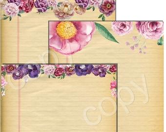 INSTANT DOWNLOAD - Stationery Paper Pack - Original Design  - Printable Digital Collage Sheets - Digital Download